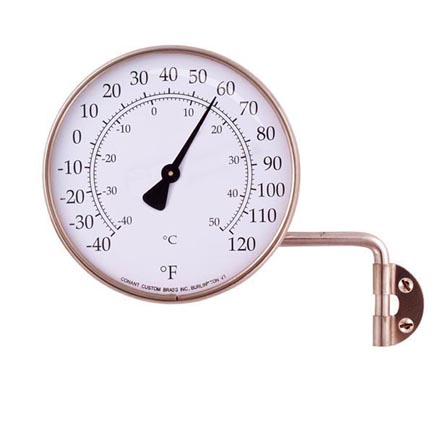 Outdoor Dial Thermometer Copper New