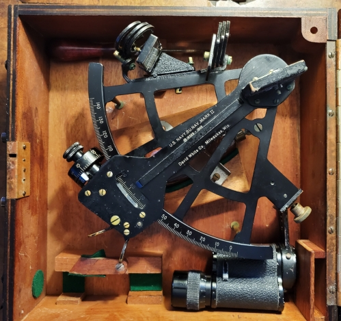WWII US Navy David White & Co. Sextant