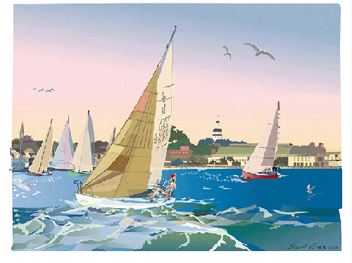 """Wednesday Night Race, Annapolis, Maryland,"" Digital Serigraph Print by Sam LaFever"