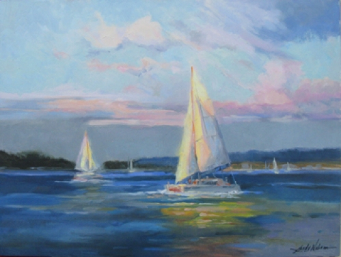 """Weekend Sailing"" original oil painting by Sandy Nelson"