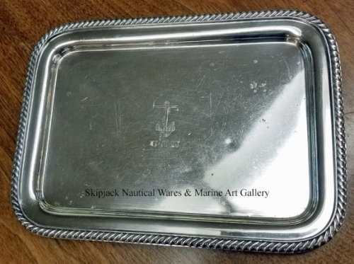"Silverplate U.S. Navy wardroom serving tray, 12 1/8"" x 8-7/8"", engraved with ""U.S.N"" and the fouled"