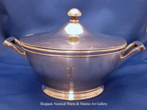 U.S. Navy Wardroom Silverplate Covered Serving Dish, pre WWII