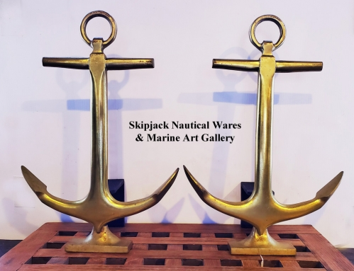 Vintage Brass Anchor Nautical Fireplace Andirons