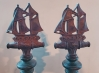 Arts & Crafts Period Bradley & Hubbard Schooner Andirons- Nautical Maritime Fireplace Tools