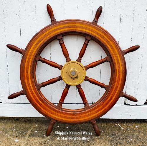 "Ships Wheel- Authentic WWII Liberty Ship Helm's Wheel -- 42"" diam."