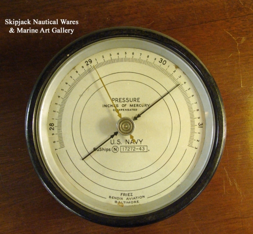 US Navy WWII Barometer Made by Friez Bendix Aviation