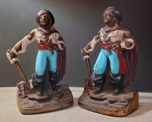 Nautical Bookends- Pirate With Treasure Chest