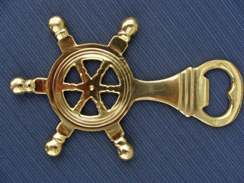 Brass Ships Wheel Bottle Opener (new)