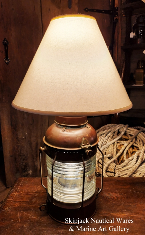 Large Brass Anchor Lantern Table Lamp- Nautical Lamps & Lighting