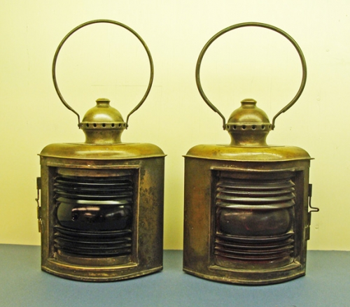 Early 20th Century Brass Port & Starboard Navigational Running Lights - PAIR