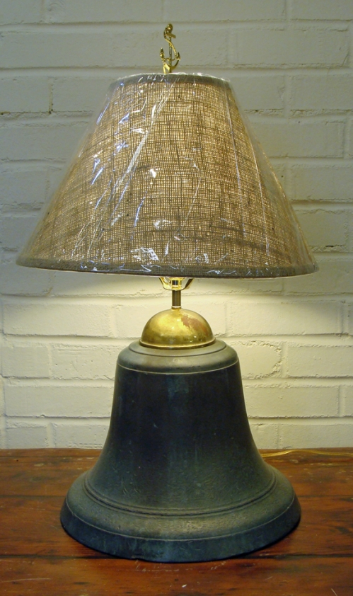 Large Bronze Ships Bell Nautical Table Lamp