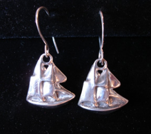 """Schooner"" sterling silver sailboat earrings from the Barbara Vincent Collection"