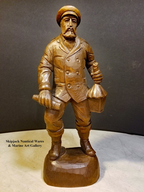 Carved Wood Figure of a Lighthouse Keeper