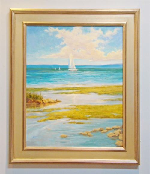"""Sailing the Bay II"" original oil painting by Sandy Nelson"