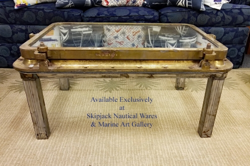 Authentic Ship's Brass Window Nautical Coffee Table