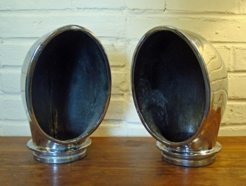 Pair of Large Chrome-Plated Cast Bronze Cowl Vents
