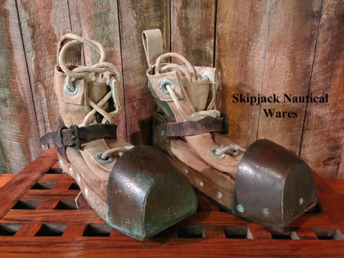 WWII Era Canvas and Brass Diving Boots