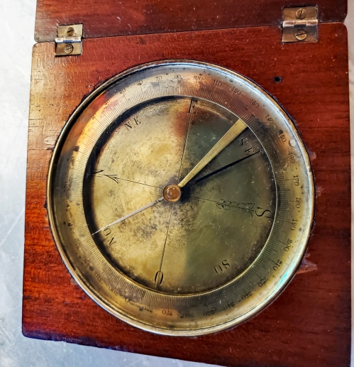 19th Century Brass Explorer's Compass in Mahogany Box