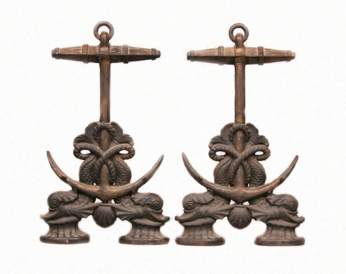 Fireplace Andirons Dolphins and Anchor- Nautical- Coastal Home