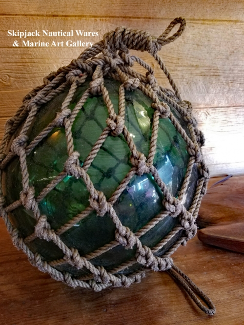 Authentic Vintage Blown Glass Fishing Net Float buoy