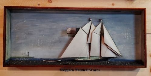 19th Century Ship Diorama Shadow Box of a Sailing Schooner, American, Circa 1880.