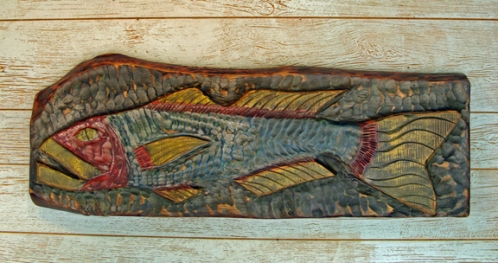 Big Bass Folky Fish Carving by Joe Marinelli