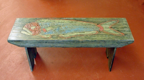 Large Mouth Bass Folky Fish Art Bench by Joe Marinelli