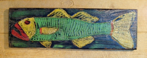 Folky Fish carved and painted folk art by Joe Marinelli