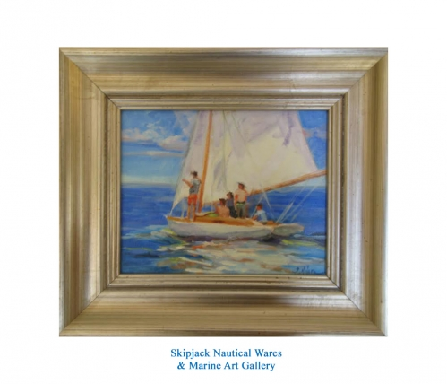 """Full Sail"" original oil painting by Sandy Nelson"