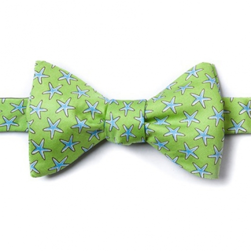 Starfish Green Self Tie Bow Tie -- Men's Nautical Neckwear (silk)