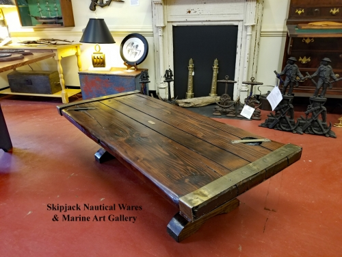 Skipjack Nautical Wares WWII US Navy Liberty Ship Hatch Cover - Ship hatch coffee table