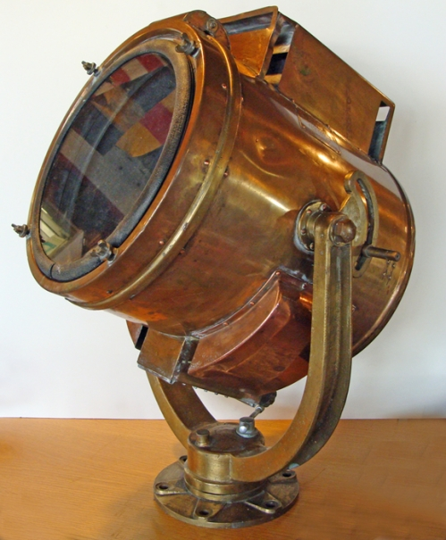 "Japanese Admiralty Search Light, c. 1970, 12"" diam. glass"