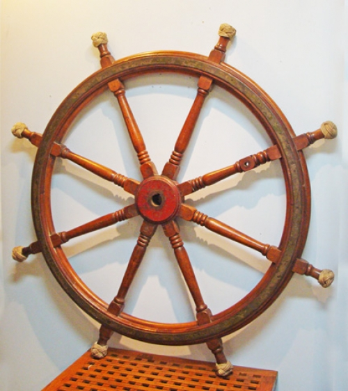 "Large Authentic Ship's Wheel With Brass Rings --  64"" diam."