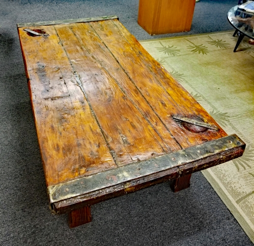 Vintage Nautical Coffee Table Created Using a WWII US Navy Liberty Ship Hatch Cover