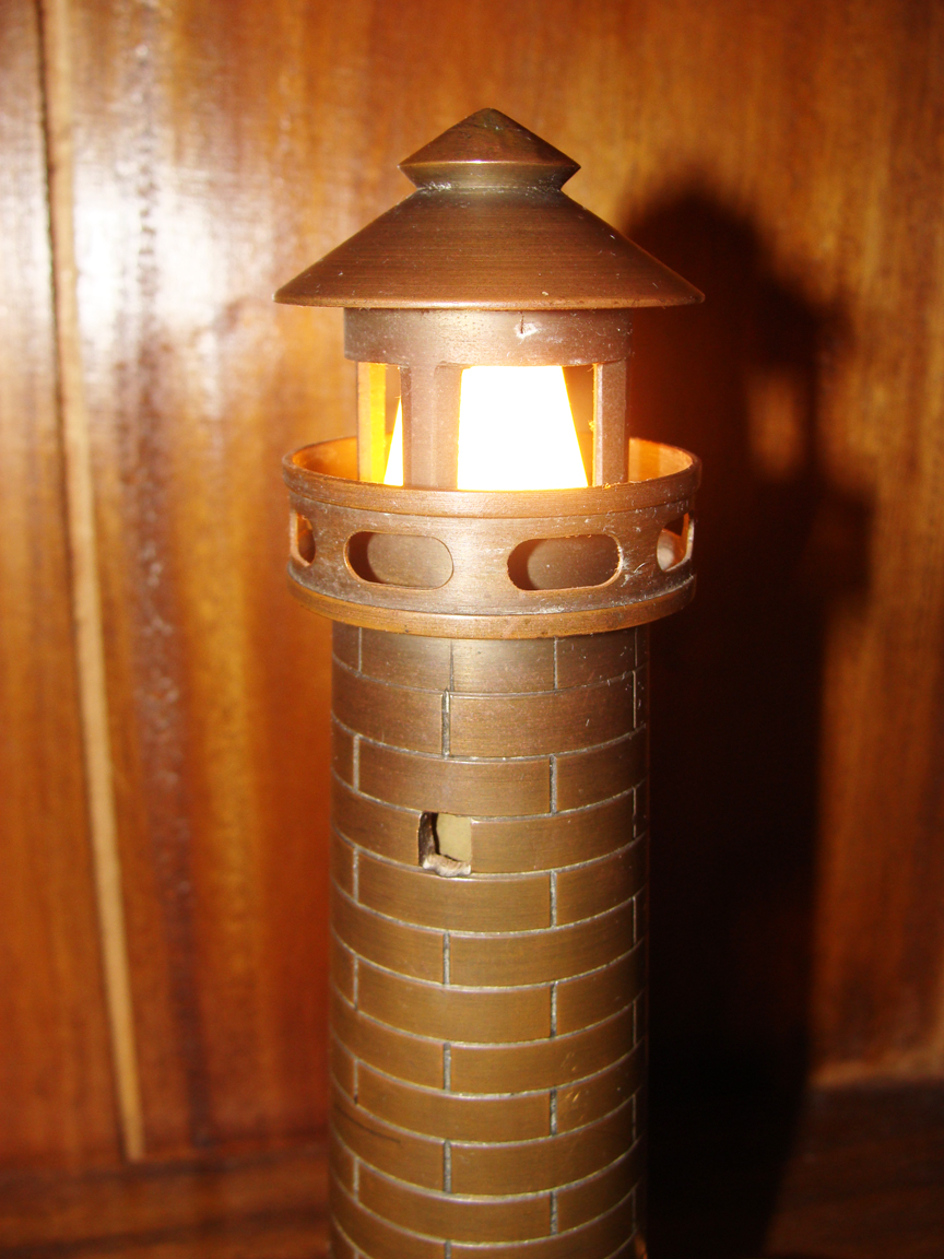 Vintage Cast Br Lighthouse Table Light Front View