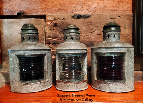 Set of Three Marine Navigation Lights- Port Starboard and bow Lights