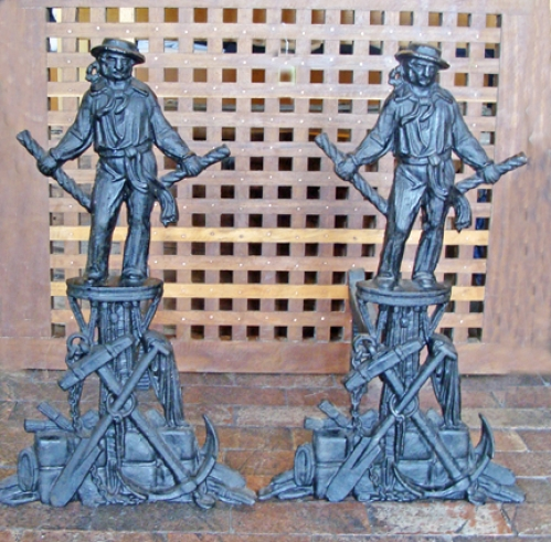Pair of Outstanding Cast Iron Figural Sailor Andirons