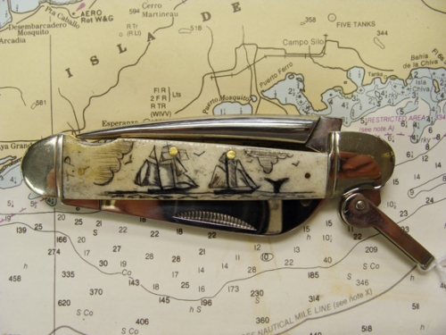 Bone Handled Scrimshaw Pocket knife with Scrimshaw Whaling Schooners by Tony Perry