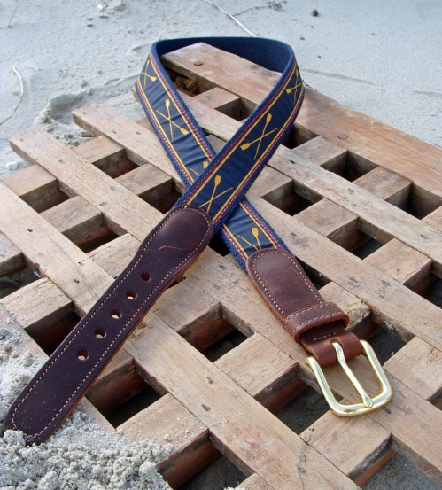 Crossed Oars Nautical Belt with Leather Tabs