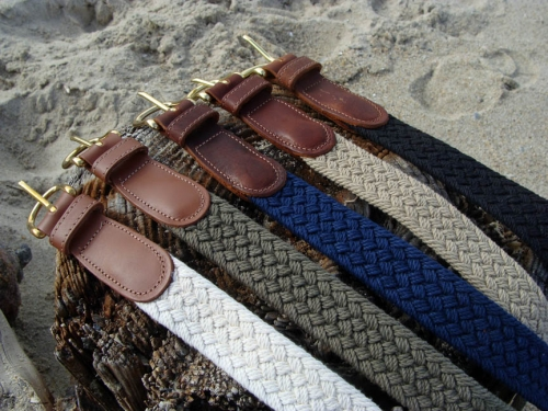 Woven Macrame Nautical Belts with Leather Tabs