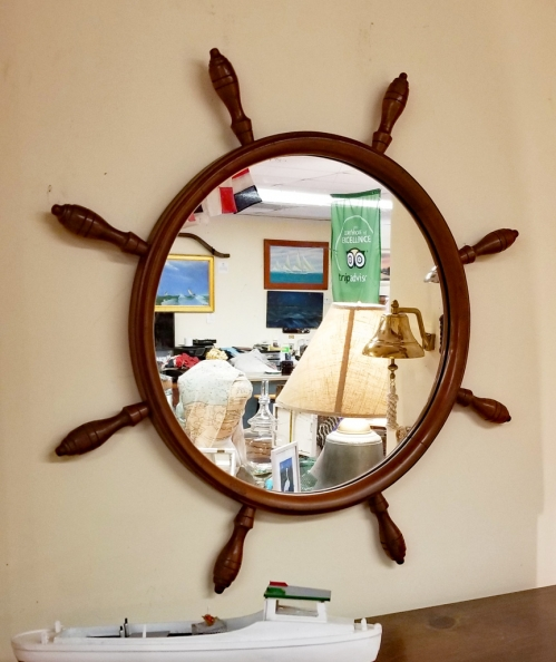 Vintage Maple Yacht Wheel Nautical Wall Mirror