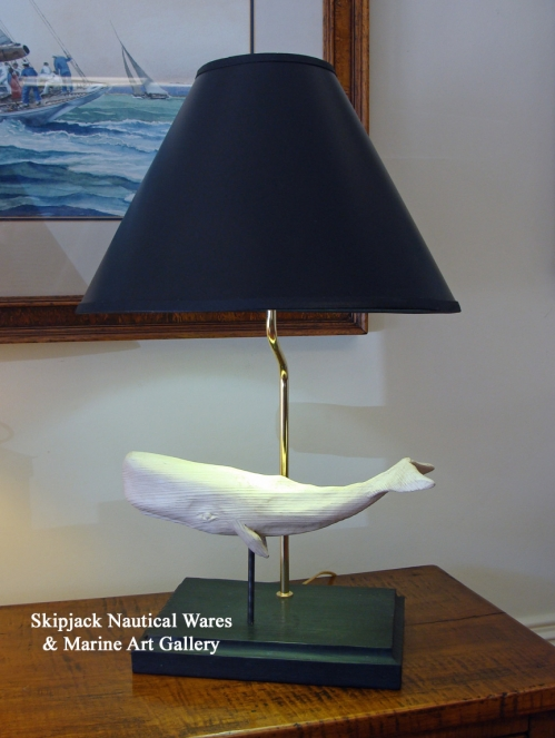 """White Whale Table Lamp"" folk art carving by J & P Johnson -- lamp height 23"""