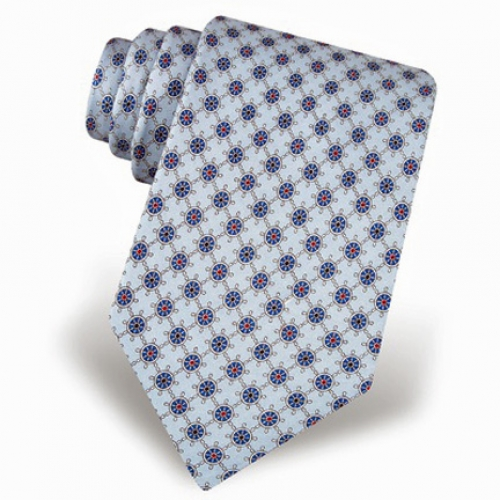 At the Helm Pale Blue Tie -- Men's Nautical Neckwear (silk)