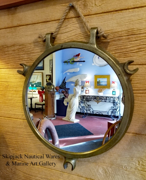 Antique Brass Porthole Window Rpurposed Nautical Mirror
