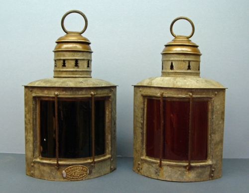 Pair of Port and Starboard Running Lights by A. S. Morss Co., Boston