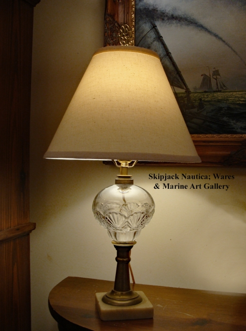 Nautical Table Lamp- 19th century Early American Pressed Glass With Rare Scallop Shell Design