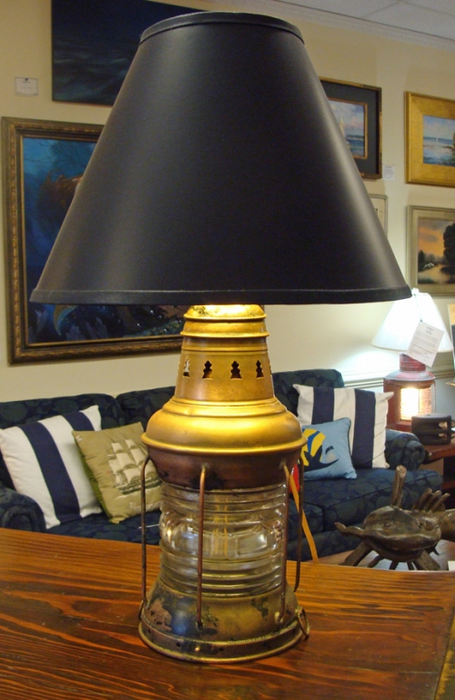 Antique Copper Anchor Table Lamp with Clear Glass Fresnel Lens