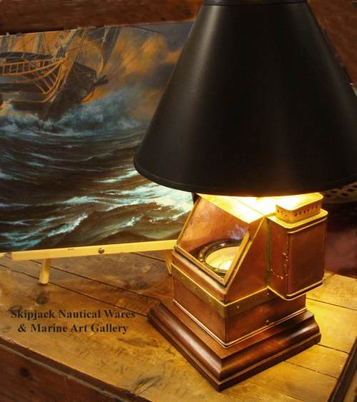 Nautical Table Lamp- WWII U.S. Navy Copper and Brass Small Boat Binnacle