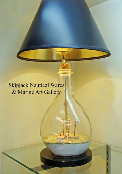 Vintage Ship-in-a-Bottle Nautical Table Lamp