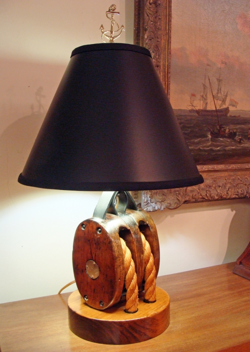 Vintage Ship's Block & Tackle Nautical Table Lamp